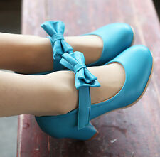 US4-11 hot womens sweet bowknot mid block heels pu leather strappy Lolita shoes