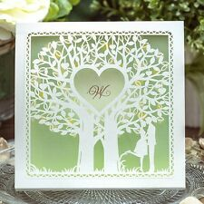 Light Green Lovers under Tree Wedding Invitations Cards with Envelopes, Seals