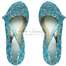 Frozen Princess Elsa Anna Queen Blue Shimmer Shoes DE Größe 28 29 30 31 32 33