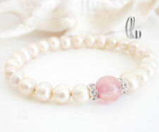 Chic Pink Genuine pearls & Natural Watermelon Quartz Bracelet AU SELLER b052-13