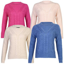 New Womens Amara Reya Ladies Cable Knit Long Sleeve Jumper Knitted Top Size 8-16