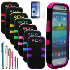 Hybrid Impact Rubber Matte Hard Case Cover For Samsung Galaxy S3 III i9300 +Film