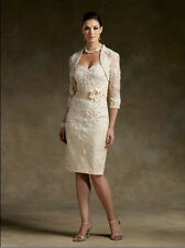 champagne Short Mother of the Bride dress Free Jacket  Size 6 8 10 12 14 16