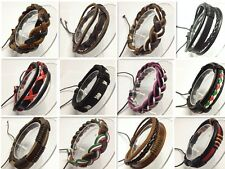 New Leather Wrap Braided Wristband Cuff Punk Men Women Fashion Bracelet Bangle