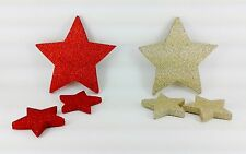 Xmas Christmas Decorations 3 Pack Stars Wall Decals & Stickers Red/Gold Glitter