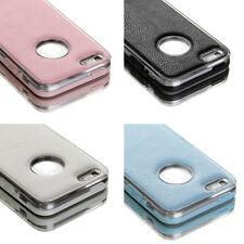For Apple iPhone 5 5S Case PU Leather Shockproof TPU Bumper Hard Back Cover+Film
