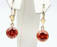 14K Yellow Gold Birthstone Round CZ Dangle Leverback Earrings