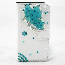 Bling Butterfly Flip Pouch Wallet Card slot PU Leather Case Cover for Samsung 2