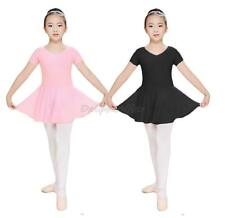 Girls Kids Short Sleeve Leotard Gymnastics Chiffon Ballet Dance Dress Dancewear