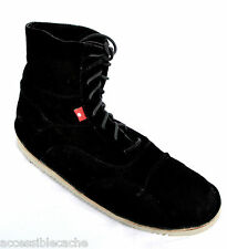 Oliberte Men's Africa Domo Leather Lace-Up Soft Suede Boots, Black, 9 or 10 US