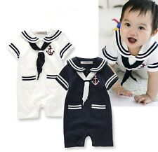 Baby Boy Toddler Sailor Suit Marine Navy Romper Onesie Outfit, 2 Colors