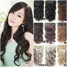 Women Girl's Half-head Straight Curly/Wavy Hairpieces Clip in Hair Extensions