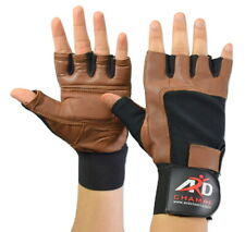 Leather Weight Lifting Gloves Long Wrist Wrap Padded Strength Training Gym Tan
