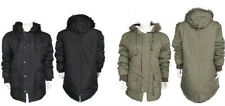 New Mens  Fur Hooded Warm Winter Parka Fishtail Jacket Coat Black green