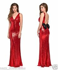 RED PLUNGE FULL STRETCH SEQUIN LOW BOW BACK FISHTAIL MAXI DRESS UK SIZE 8-16