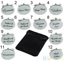 Stunning Great Silver Oval Mens Wedding Cufflinks Groom Best Man Usher Page Gift