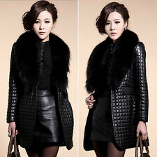 Women's Winter Warm Faux Fur Collar Coat Leather Jacket Overcoat Parka Slim