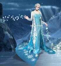 PJ710 Movies Frozen Snow tailor HANDMADE CUSTOM Queen ELSA Cosplay Costume Dress