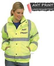 Personalised Yellow High Visibility Safety Waterproof Bomber Jacket Coat Hi Vis