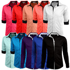 Mens Comfortable Slim Fit Tailored Button Down Casual Dress Roll Up Sleeve Shirt