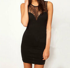 Cheap New Perfect Women's Lady Clothes Lace Round Collar Sleeveless Dress SzS-XL