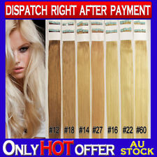 """20"""" Double Drawn Skin Tape Remy Human Hair Extensions Strong Tape Extra Thick"""