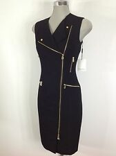Calvin Klein Beautiful BLACK  Dress Gold Side Zippers and Gold Ornaments