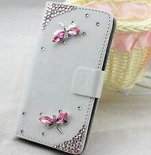 Crystal Dragonfly Wallet Card Holder PU Leather Flip Case Cover for Sony phones