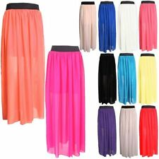 NEW WOMENS ELASTIC WAIST BAND PLEATED CHIFFON LONG MAXI SKIRT UNDERSKIRT  8-14