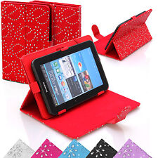 Universal Bling Leather Diamond Stand Case Cover Pouch For  7 8 Inch Tablets Tab