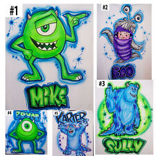 Airbrushed Custom Monster Inc Boo Sully and Mike T-Shirt Onesie All Sizes
