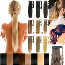 USA Long New Hair Extensions Wrap Around Ponytail HairDo NEW Straight Curly lts