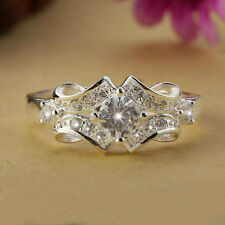 Fine 925 Silver Plated Charming Crystal Rhinestone Wedding Ring Women Size 6-9