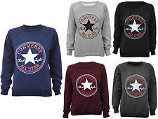 NEW WOMENS CONVERSE ALL STAR PRINT JUMPER LADIES SWEATSHIRT LONG SLEEVE TOP
