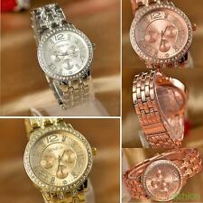 New Fashion Womens Wrist Watch Exquisite Luxury Gold Crystal Rhinestones Dial