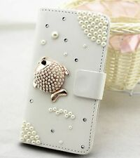 Pearl fish Wallet Card Holder PU Leather Flip Case Cover For Sony Phones