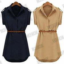 New Womens Vintage Style Army 1940's Landgirl WW2 Long Shirt Tunic Top Blouse