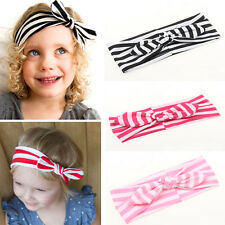 Girls Kids Elastic Stretch Stripe Rabbit Bow Style Hair Band Headband Turban