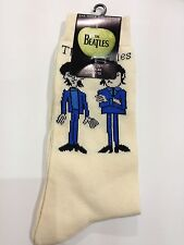 THE BEATLES OFFICIAL MERCHANDISE CARTOON FIGURES CREAM SOCKS