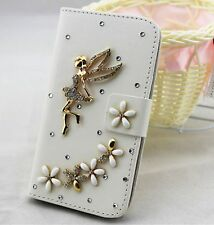 Bling angel Wallet Card Holder PU Leather Flip Pouch Case Cover for Motorola