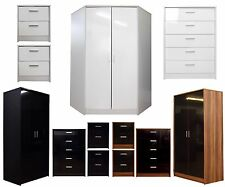 New High Gloss Bedroom Furniture Range Corner Wardrobe Chest Bedside Set
