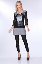 Krista Lee Belle Noir Group Black Gray Postcard Tunic Dress Embellished Beaded