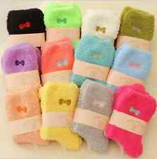 HOT!6/12Pairs CANDY COLORS Women's Soft N Fuzzy Ladies Winter WARM Socks Size5-8