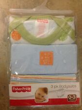 FISHER PRICE ~ 3 PK BODYSUITS ~ GIRAFFE ~ 0-3M or 3-6M ~ NEW