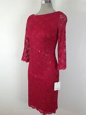 Calvin Klein  NEW Cherry Red / Sequence Lace  Dress , see  thru 3/4 Sleeves
