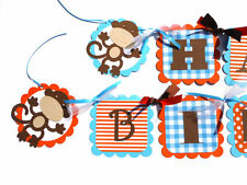 Bright Little Monkey Themed Happy Birthday Banner Orange Turquoise Blue & Brown