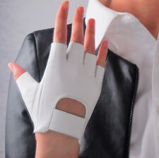 Real Leather Fingerless Short Gloves White Lambskin Bicycle Driving Lambskin