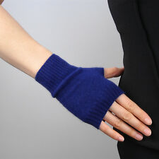 Cashmere Wool Fingerless Gloves Arm Warmer Mitten Navy Blue Touch Screen Wrist