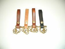 hand made leather key fob belt holder with solid  brass shackle and brass rings