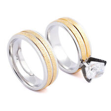 Endless Love Gold Crystal Couple Rings His and Her Promise Ring Wedding Ring 1pc